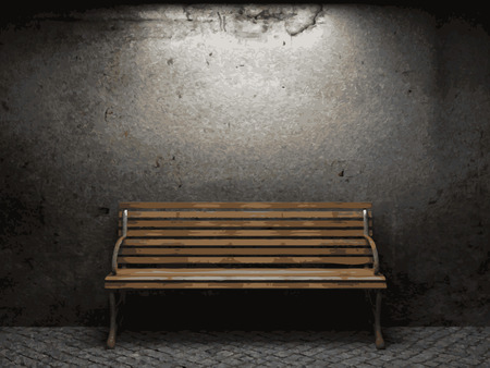 rotting: vector bench and stone wall background