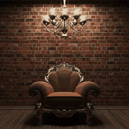 vector chair on brick background Vector