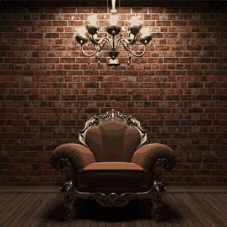 stonework: vector chair on brick background