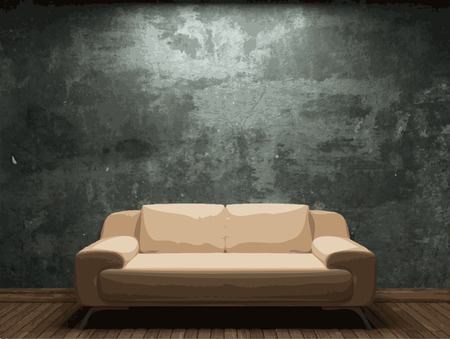 vector sofa and brick wall background