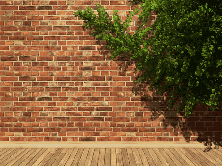 vector ivy and brick background Vector