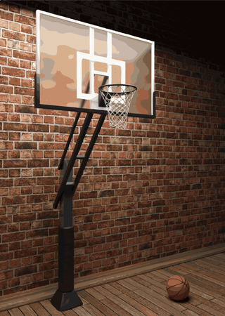vector basketball and brick background