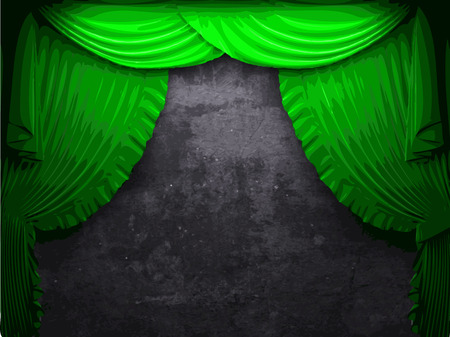 vector velvet curtain and stome wall background Vector
