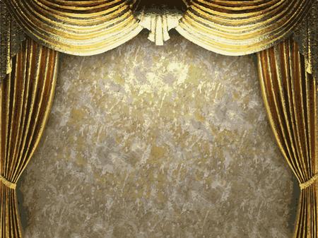 vector golden curtain background Illustration