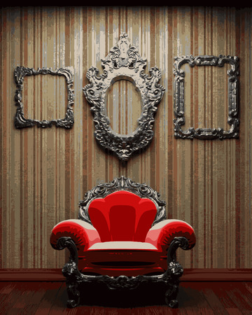 illuminated: vector illuminated fabric wallpaper and chair