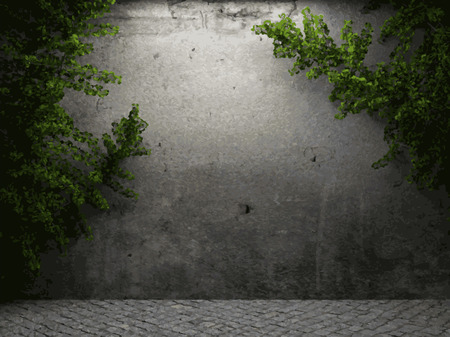 vector ivy and stone background Vector