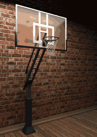 revetment: vector basketball and brick background