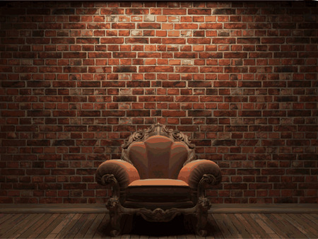 vector chair and brick background Stock Illustratie