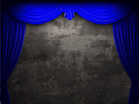 ambiance: vector velvet curtain and stome wall background