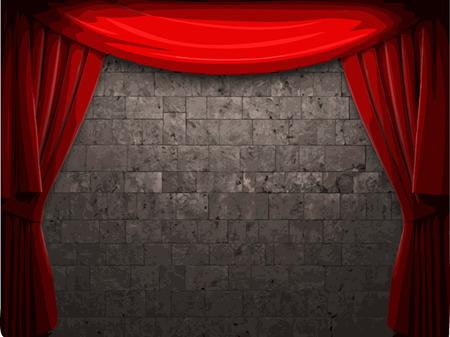carmine: vector de terciopelo cortina y stome fondo de la pared