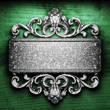 vector metal ornament on wood background