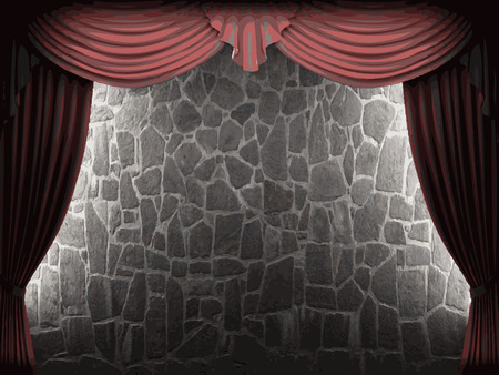 opulence: velvet curtain and stone wall background