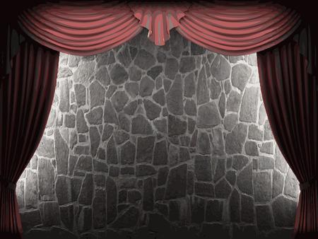 velvet: velvet curtain and stone wall background