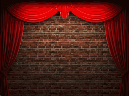 ambiance: velvet curtain and stone wall background