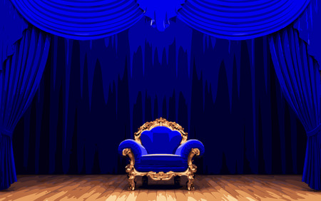 opulence: chair and blue velvet curtain stage