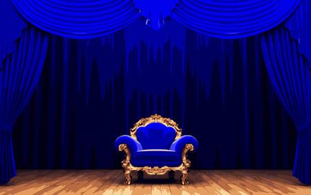 carmine: chair and blue velvet curtain stage