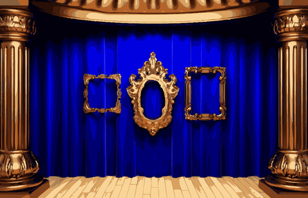 golden frames and blue curtain stage