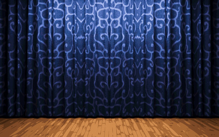 ambience: blue curtain stage Illustration