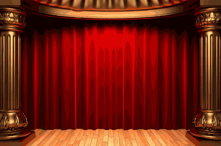 carmine: red velvet curtain stage