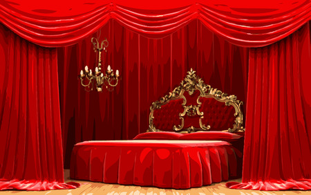 opulent: bed on red curtain stage Illustration