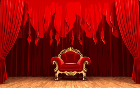 ambience: vector chair on red curtain stage