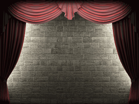 opulent: velvet curtain and stone wall background