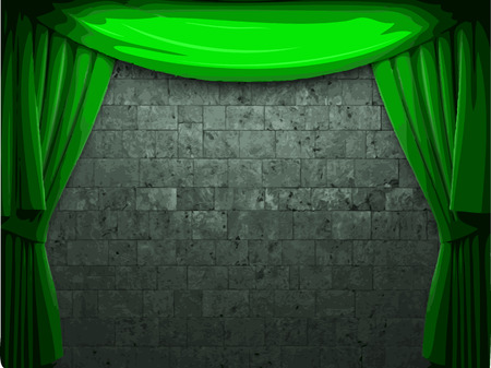 green curtain and stone wall background