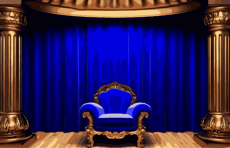 opulent: chair and curtain stage Illustration