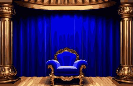 carmine: etapa silla y cortina Vectores