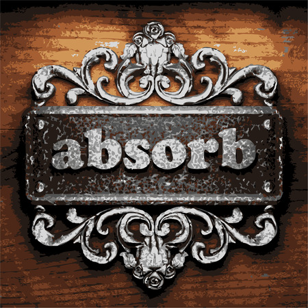 absorb: iron absorb word on wooden background Illustration