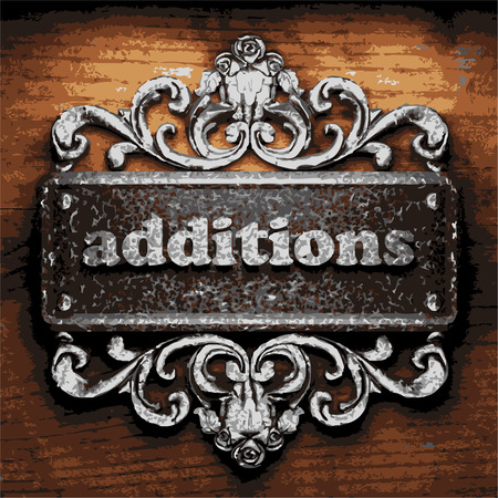additions: iron additions word on wooden background Illustration