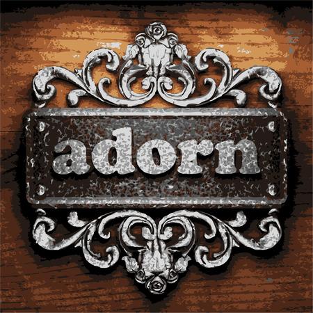 adorn: hierro adornan palabra sobre fondo de madera