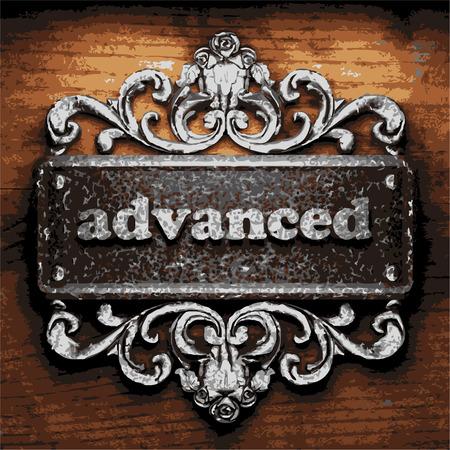 advanced: iron advanced word on wooden background Illustration