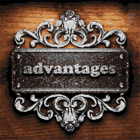 advantages: iron advantages word on wooden background