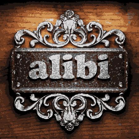 alibi: iron alibi word on wooden background