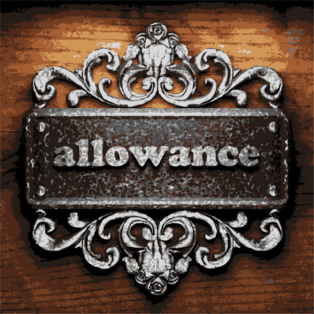 allowance: iron allowance word on wooden background