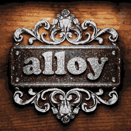 alloy: iron alloy word on wooden background