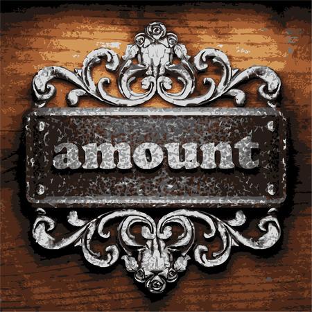 amount: iron amount word on wooden background
