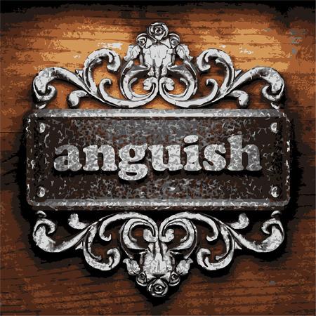anguish: iron anguish word on wooden background Illustration