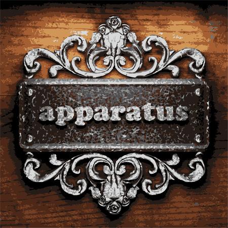 apparatus: iron apparatus word on wooden background Illustration