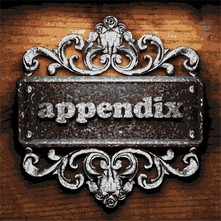 appendix: iron appendix word on wooden background Illustration