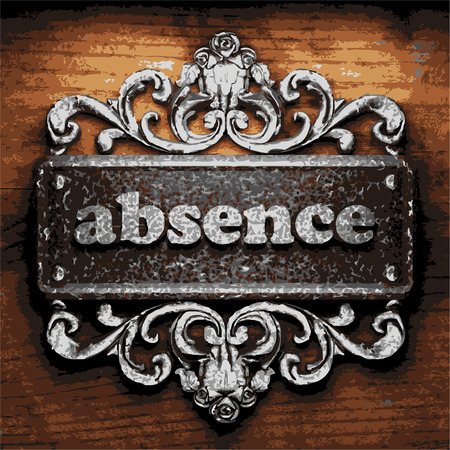 absence: iron absence word on wooden background