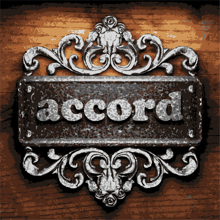 accord: iron accord word on wooden background