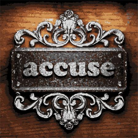 accuser: fer accusent mot sur fond de bois Illustration