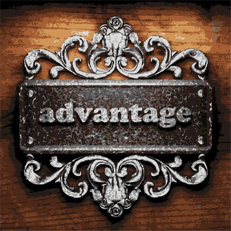 advantage: iron advantage word on wooden background