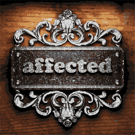 affected: iron affected word on wooden background