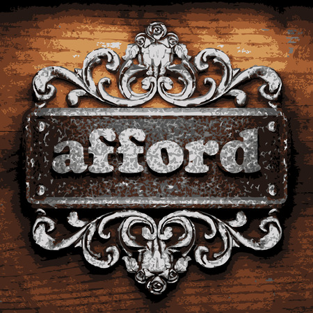 afford: iron afford word on wooden background