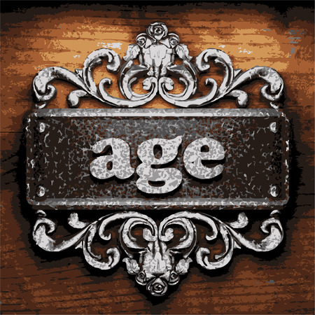 of age: iron age word on wooden background Illustration