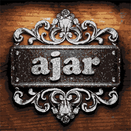 ajar: iron ajar word on wooden background
