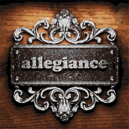 allegiance: iron allegiance word on wooden background Illustration
